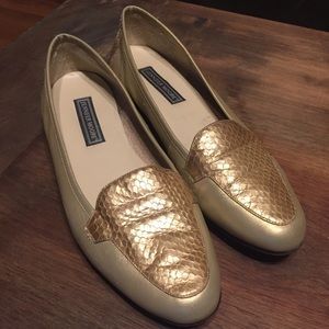 Vintage 90s Gold Leather and Snakeskin Loafers